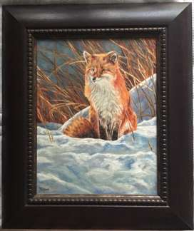 Tegz - original oil painting, snow fox, framed A3 size