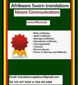 Afrikaans Sworn translation Durban