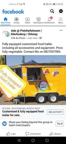 Fully equipped customised food trailer