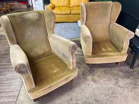 Two vintage velvet green chairs for sale
