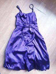 Fioletowa koktajlowa elegancka sukienka satyna