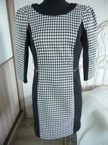 Elegancka Sukienka H&M r. 36 pepitka , elastyczny materiał , zamki