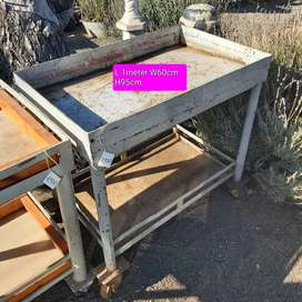 Steel working benches on wheels