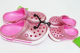 ХИТ! Розовые блестящие кроксы женские оригинал. Сабо Crocs
