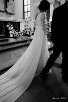 Zwiewna suknia ślubna 38 (gipiura+muślin)