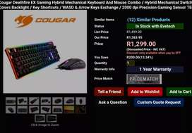 Cougar deathfire ex gaming keyboard and mouse