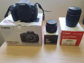 Canon EOS 700D Camera with 3 lenses and an 8GB Micro SD Card