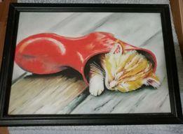 Obraz Rysunek pastelowy kotek na prezent - piękny - rok wykonania 2008