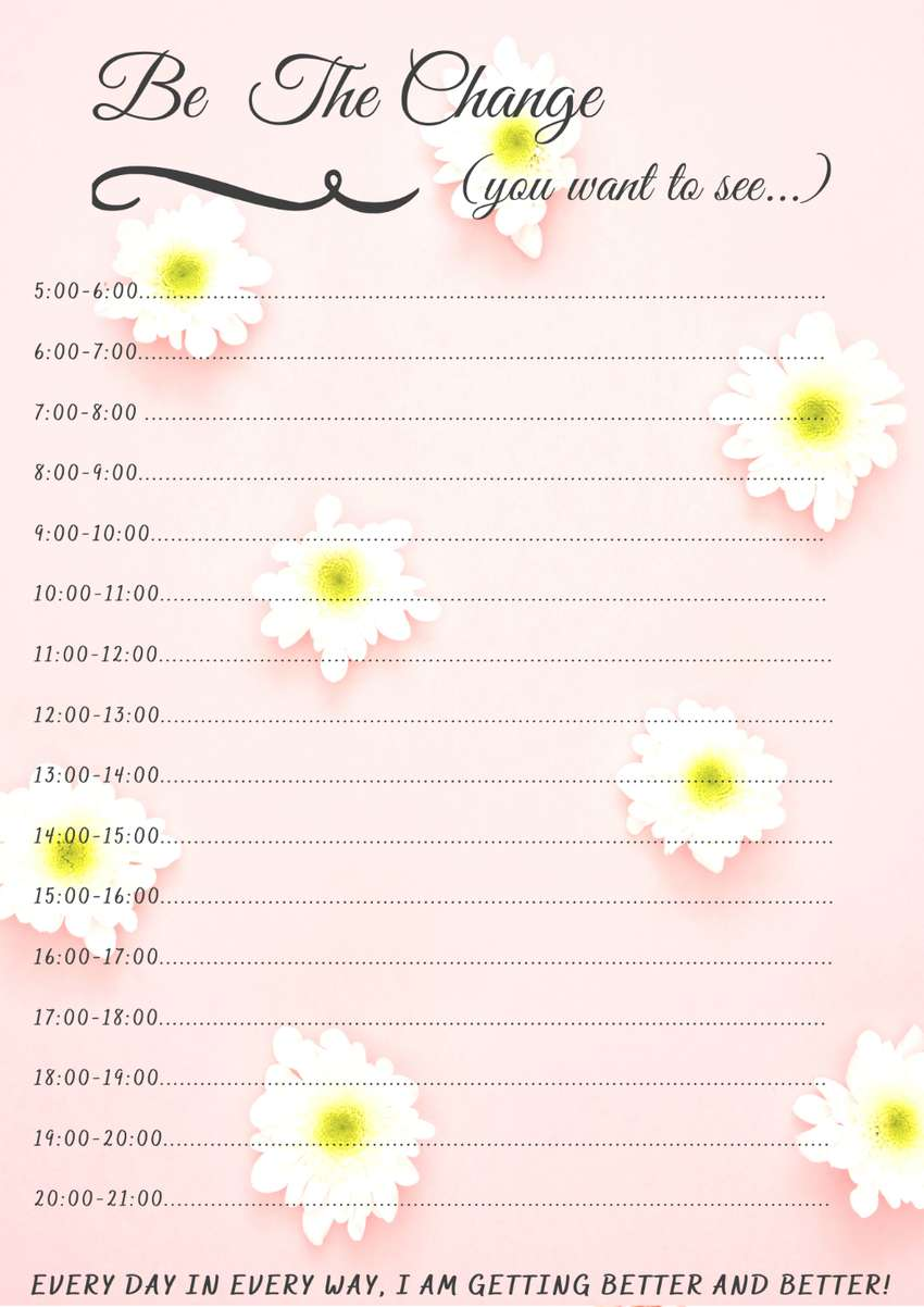 Be The Change Daily Planner(Diary Worksheet) AND Journal Worksheet