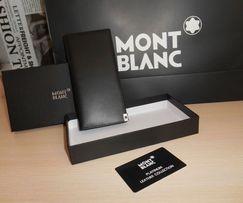 Duży oryginalny czarny PORTFEL MĘSKI Mont Blanc, skóra, Niemcy 4-004