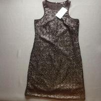 czarna sukienka SINSAY pokryta cekinami rozm S