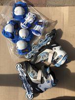 Голубые роликовые коньки раздвижные Amigo Blue с защитой