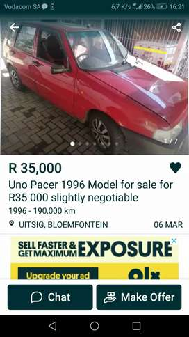 M selling my red uno fro 35 000 or for swap wth a small bakkie