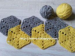Podkładki pod kubek, handmade, szydełko, szydełkowe szare żółte