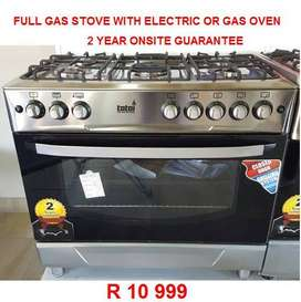 New 5 burner 90cm Totai Full gas stove with gas oven
