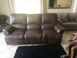 Lounge suite 5 recliners genuine leather