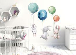 Naklejka na ścianę dla dzieci Zajączki,balony