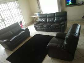 Genuine leather 6 seater recliner lounge suite