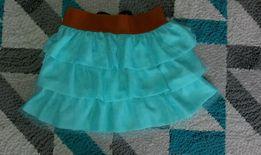 Nowa spodniczka Morski niebieski falbanki ,kokardki cudo