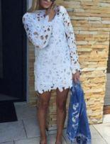 Sukienka cous ecru koronkowa