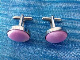 Запонки под серебро, розовые Запонки