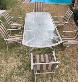 Patio Glass Table with Set of 6 Chairs
