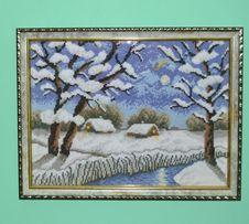 Картина вышитая крестом, Снежная зима