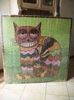 """Sprzedam obraz na płótnie """"KOT"""" ręcznie układany techniką mozaikową ."""