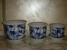 Горшки для цветов, фарфор, Китай, набор 6 шт., привезены в 1990-е.