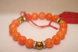 Bransoletka MoMo Design Prezent Walentynki Pomarańczowy Jadeit Hematyt