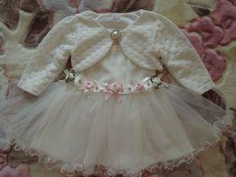 Детское нарядное фирменное платье Bulsen Baby белое с кофтой и цветам