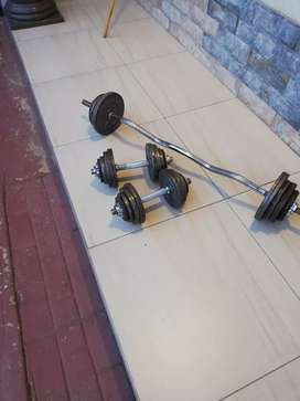 Ez bar with weights and dumbells