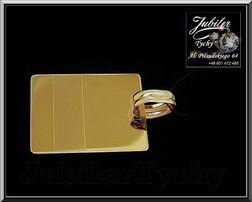 Złoty wisiorek duża blacha złoto GOLD 14K blaszka grawerowana + mat