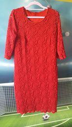 Czerwona koronkowa sukienka 42