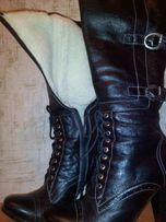 Сапоги женские кожаные зимние на овчине