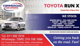 Toyota Run X Parts and Spares For Sale.