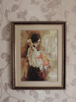 """Продам картину ручной работы """"Девушка с цветами"""""""