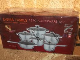 Набор посуды Swiss Family 12 предметов, кастрюли, ковш, сковородка