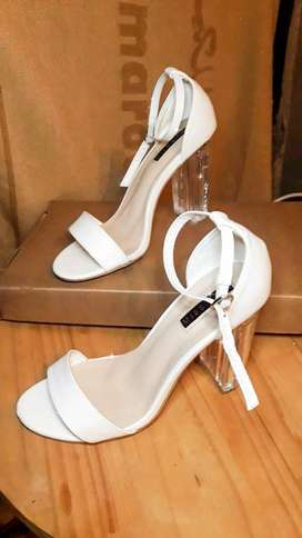 White and clear heels