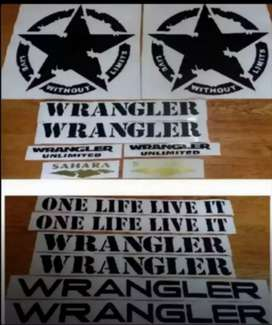 Decals stickers for all jeep wrangler models