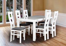 Piękny Biały Zestaw (stół + 6 krzeseł) W Super Cenie! PRODUCENT