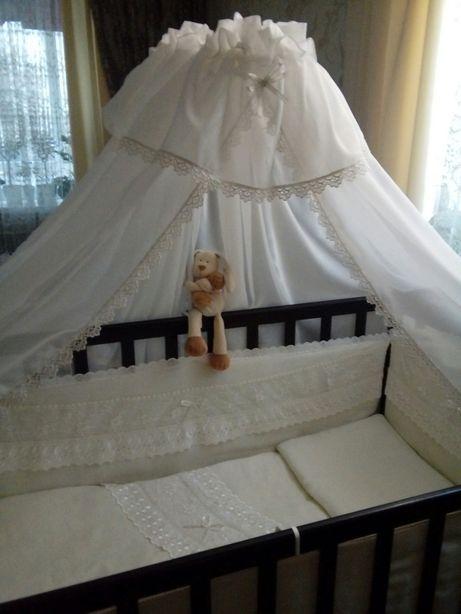Постельный набор. Комплект в кроватку. Бортики одеяло подушка балдахин