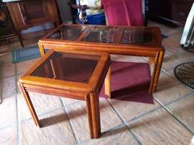 Glass top coffee table and side table