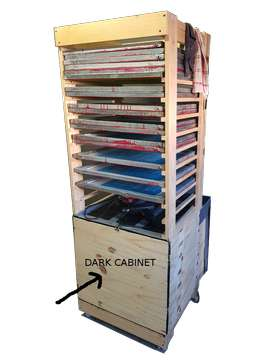 Screen drying rack with dark cabinet