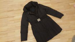 ZARA płaszcz zimowy puchowy czarny L/XL puch naturalny