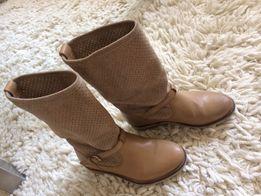 Zara сапоги кожаные