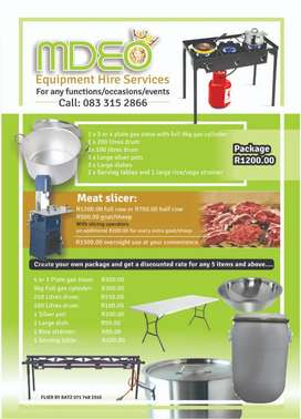 Pots, Dishes, Tables & Gas stove for hire