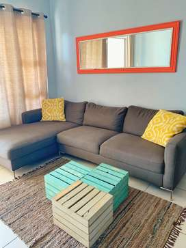 Gray L-shaped couch