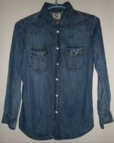 Koszula jeansowa dziecięca z długim rękawem rozmiar 140 cm