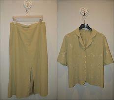 Garsonka elegancka spódnica żakiet marynarka komplet 44 XXL krótki ręk